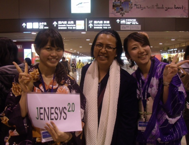Welcoming party at Narita included these two pretty young women