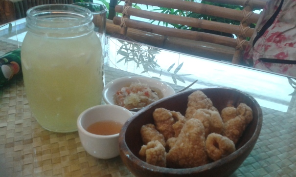 Refreshing buko pandan in a jar (good for 2  persons) and chicharon