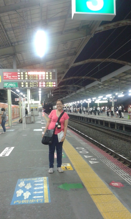 Waiting for our train to Shin-imamiya