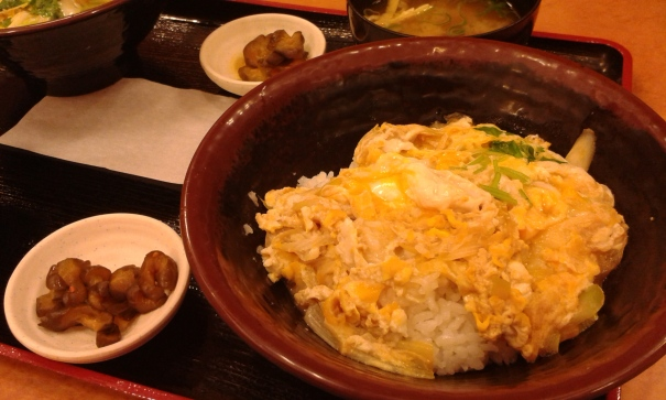 Tamago donburi--scrambled eggs on rice